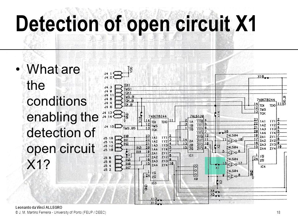 Leonardo da Vinci ALLEGRO © J. M. Martins Ferreira - University of Porto (FEUP / DEEC)18 Detection of open circuit X1 What are the conditions enabling