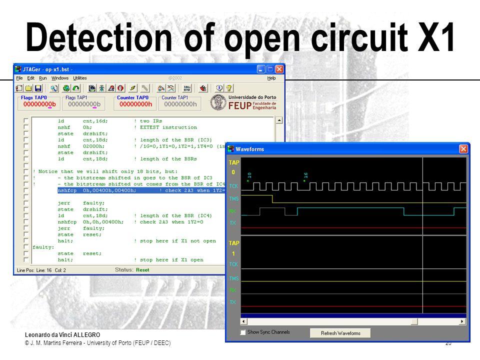 Leonardo da Vinci ALLEGRO © J. M. Martins Ferreira - University of Porto (FEUP / DEEC)20 Detection of open circuit X1