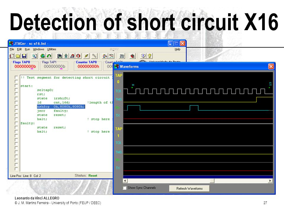 Leonardo da Vinci ALLEGRO © J. M. Martins Ferreira - University of Porto (FEUP / DEEC)27 Detection of short circuit X16
