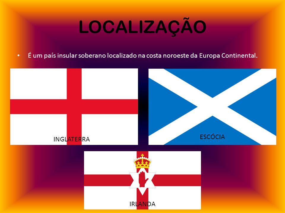 LOCALIZAÇÃO É um país insular soberano localizado na costa noroeste da Europa Continental.