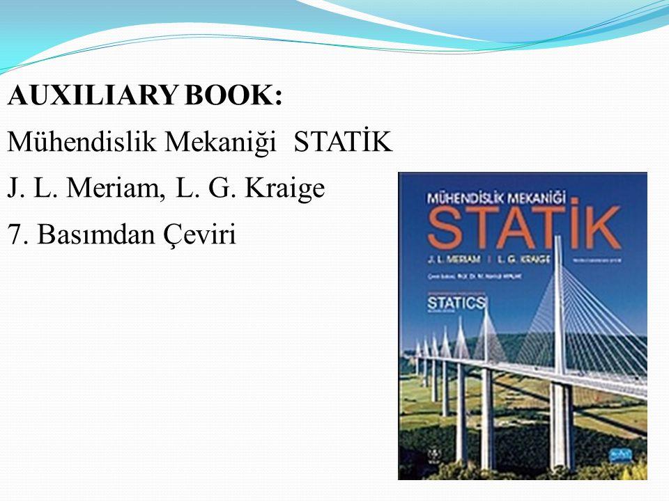 AUXILIARY BOOK: Mühendislik Mekaniği STATİK J. L. Meriam, L. G. Kraige 7. Basımdan Çeviri