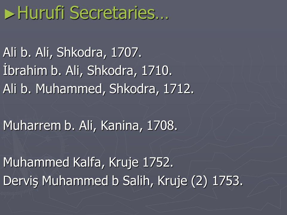 ► Hurufi Secretaries… Ali b. Ali, Shkodra, 1707. İbrahim b.