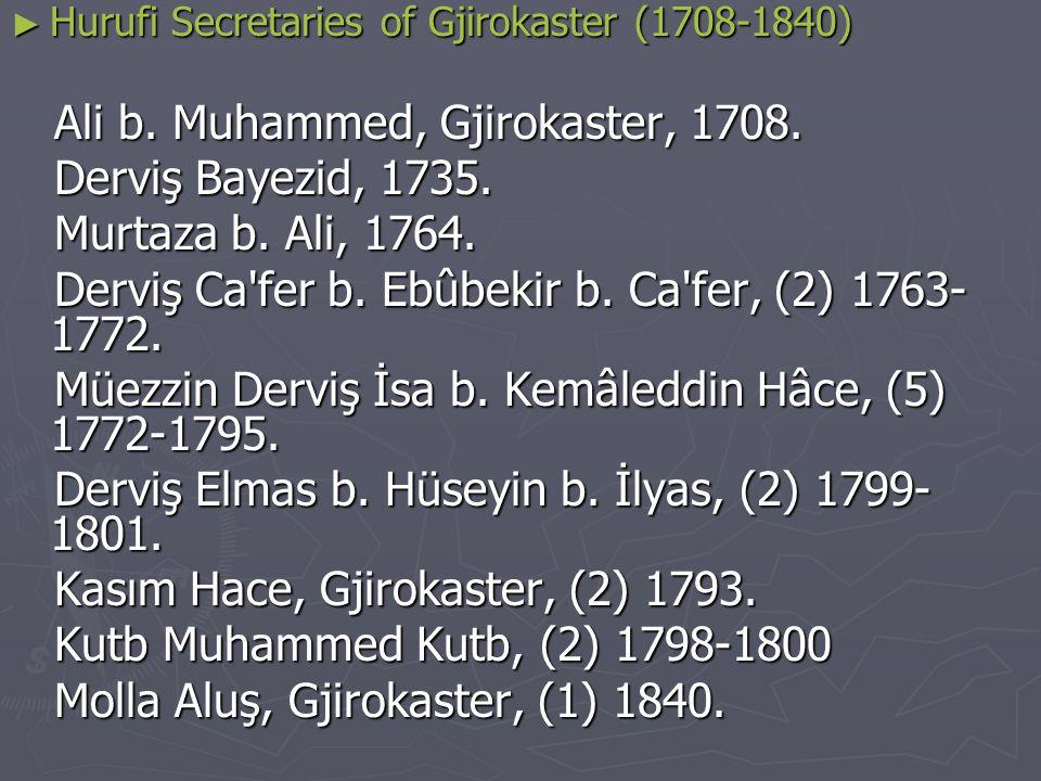 ► Hurufi Secretaries… Ali b.Ali, Shkodra, 1707. İbrahim b.