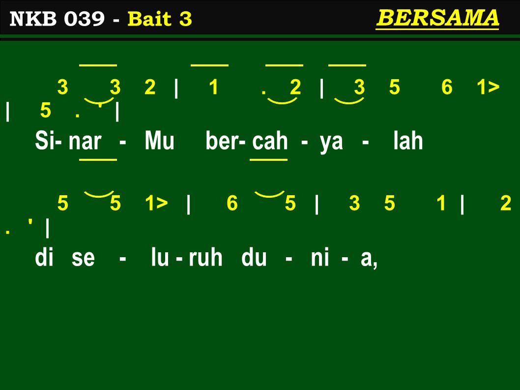 3 3 2 | 1. 2 | 3 5 6 1> | 5. | Si- nar - Mu ber- cah - ya - lah 5 5 1> | 6 5 | 3 5 1 | 2.