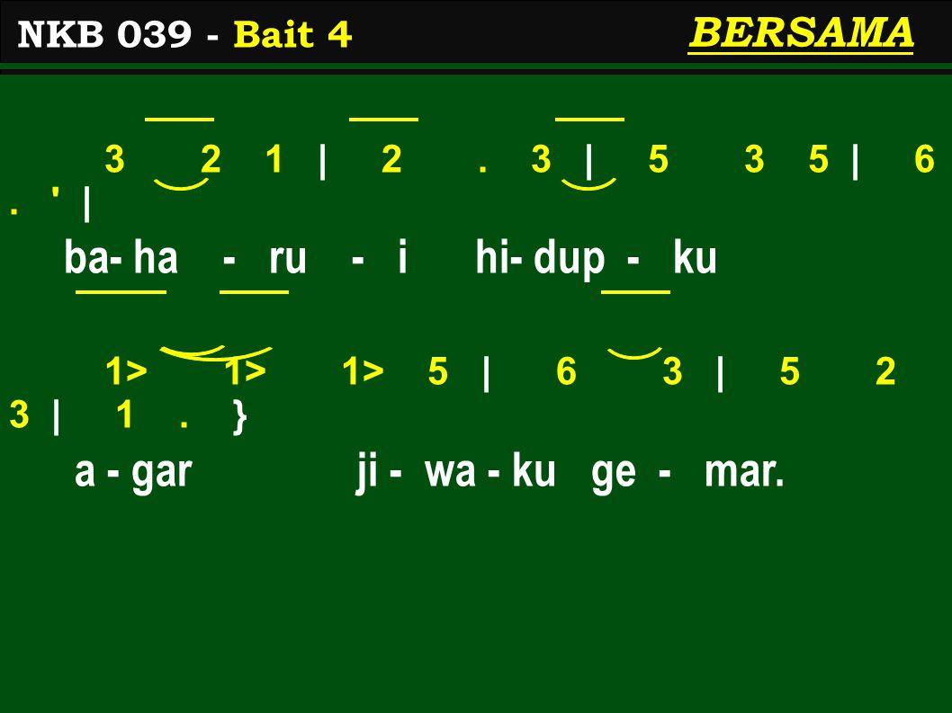 3 2 1 | 2. 3 | 5 3 5 | 6. | ba- ha - ru - i hi- dup - ku 1> 1> 1> 5 | 6 3 | 5 2 3 | 1.