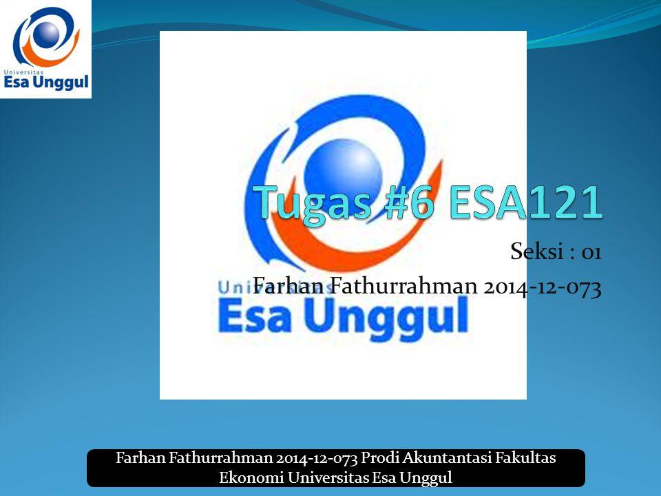 Farhan Fathurrahman 2014-12-073 Prodi Akuntantasi Fakultas Ekonomi Universitas Esa Unggul Seksi : 01 Farhan Fathurrahman 2014-12-073