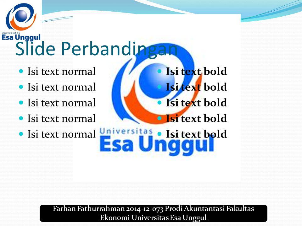 Farhan Fathurrahman 2014-12-073 Prodi Akuntantasi Fakultas Ekonomi Universitas Esa Unggul Slide Perbandingan Isi text normal Isi text bold