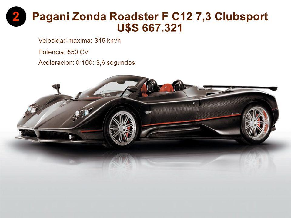 Pagani Zonda Roadster F C12 7,3 Clubsport Aceleración: 0-100: 3,6 segundos Velocidad máxima: 345 km/h 2 U$S 667.321 Potencia: 650 CV Aceleracion: 0-100: 3,6 segundos