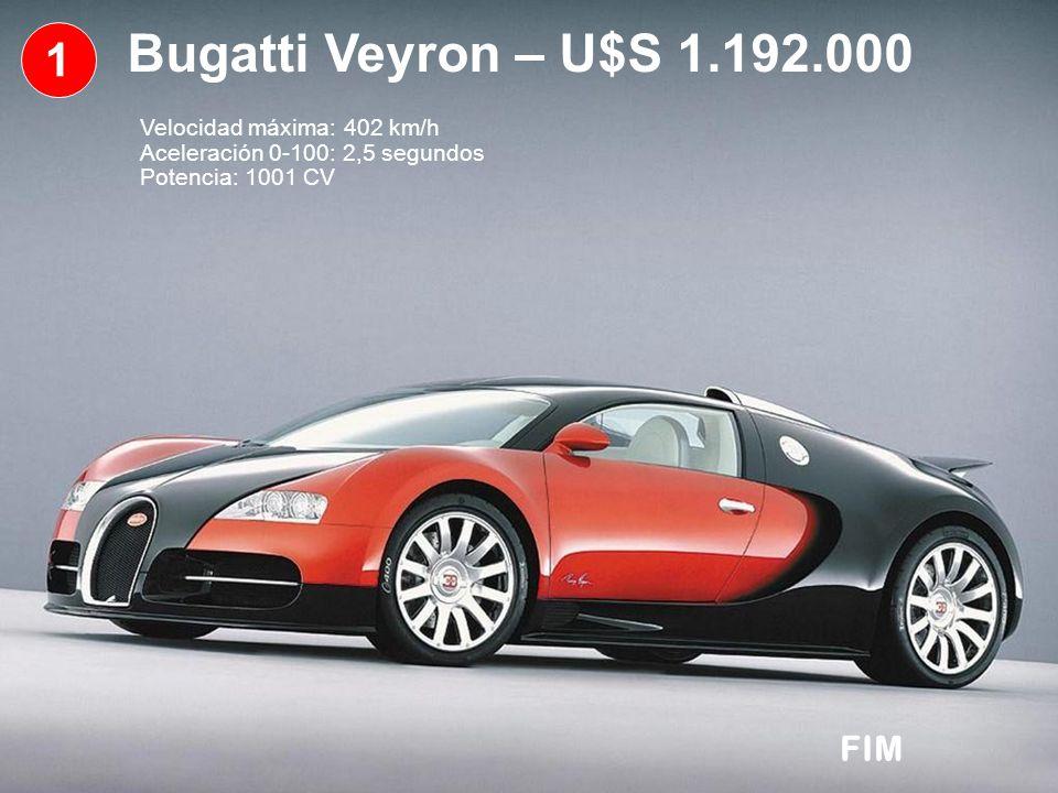 1 Bugatti Veyron – U$S 1.192.000 Velocidad máxima: 402 km/h Aceleración 0-100: 2,5 segundos Potencia: 1001 CV FIM