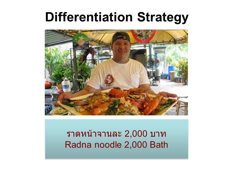 Differentiation Strategy ราดหน้าจานละ 2,000 บาท Radna noodle 2,000 Bath ราดหน้าจานละ 2,000 บาท Radna noodle 2,000 Bath