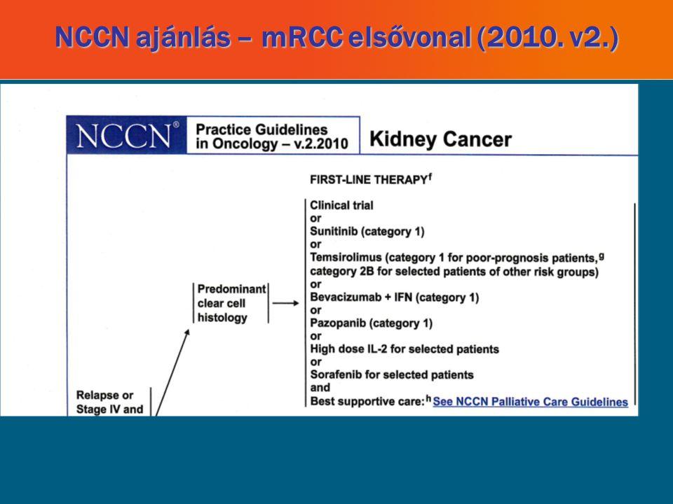 NCCN ajánlás – mRCC elsővonal (2010. v2.)