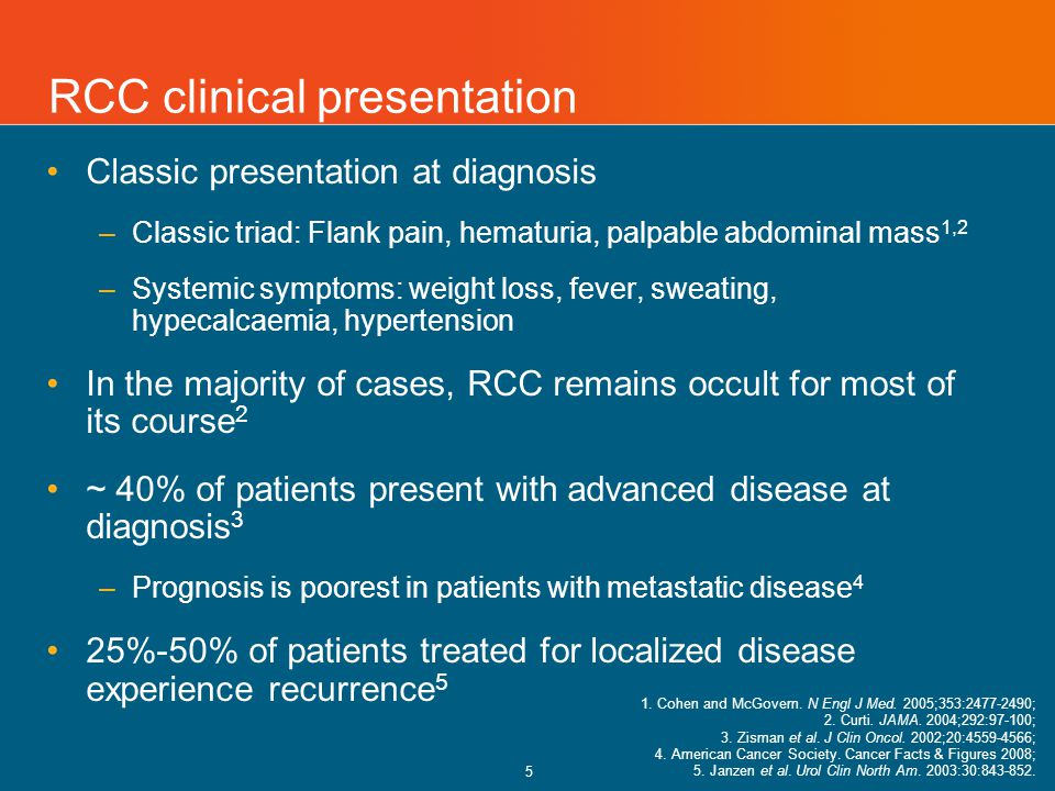 5 RCC clinical presentation Classic presentation at diagnosis –Classic triad: Flank pain, hematuria, palpable abdominal mass 1,2 –Systemic symptoms: weight loss, fever, sweating, hypecalcaemia, hypertension In the majority of cases, RCC remains occult for most of its course 2 ~ 40% of patients present with advanced disease at diagnosis 3 –Prognosis is poorest in patients with metastatic disease 4 25%-50% of patients treated for localized disease experience recurrence 5 1.