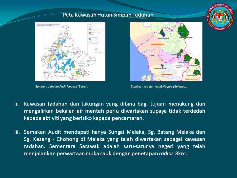 Peta Kawasan Hutan Simpan Tadahan Sumber : Jabatan Audit Negara (Sabah) Sumber : Jabatan Audit Negara (Selangor) ii.Kawasan tadahan dan takungan yang