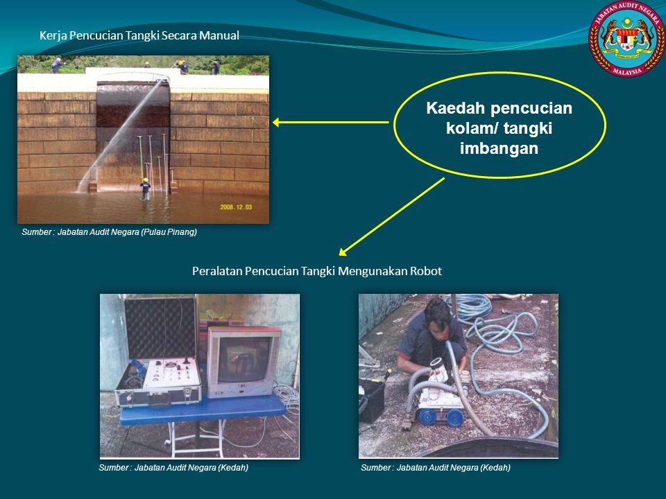 Sumber : Jabatan Audit Negara (Pulau Pinang) Sumber : Jabatan Audit Negara (Kedah) Kerja Pencucian Tangki Secara Manual Peralatan Pencucian Tangki Men