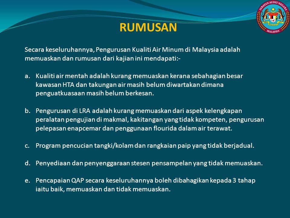 RUMUSAN Secara keseluruhannya, Pengurusan Kualiti Air Minum di Malaysia adalah memuaskan dan rumusan dari kajian ini mendapati:- a.Kualiti air mentah
