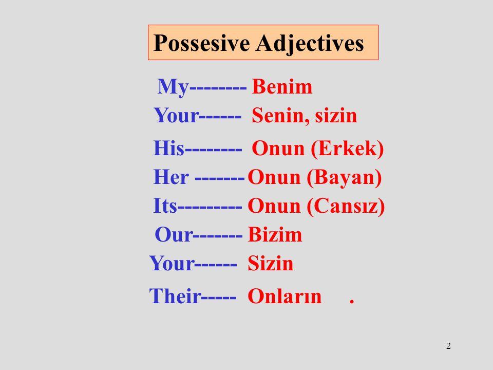 2 Possesive Adjectives My--------Benim Your------Senin, sizin His--------Onun (Erkek) Her -------Onun (Bayan) Its---------Onun (Cansız) Our-------Bizim Your------Sizin Their-----Onların.