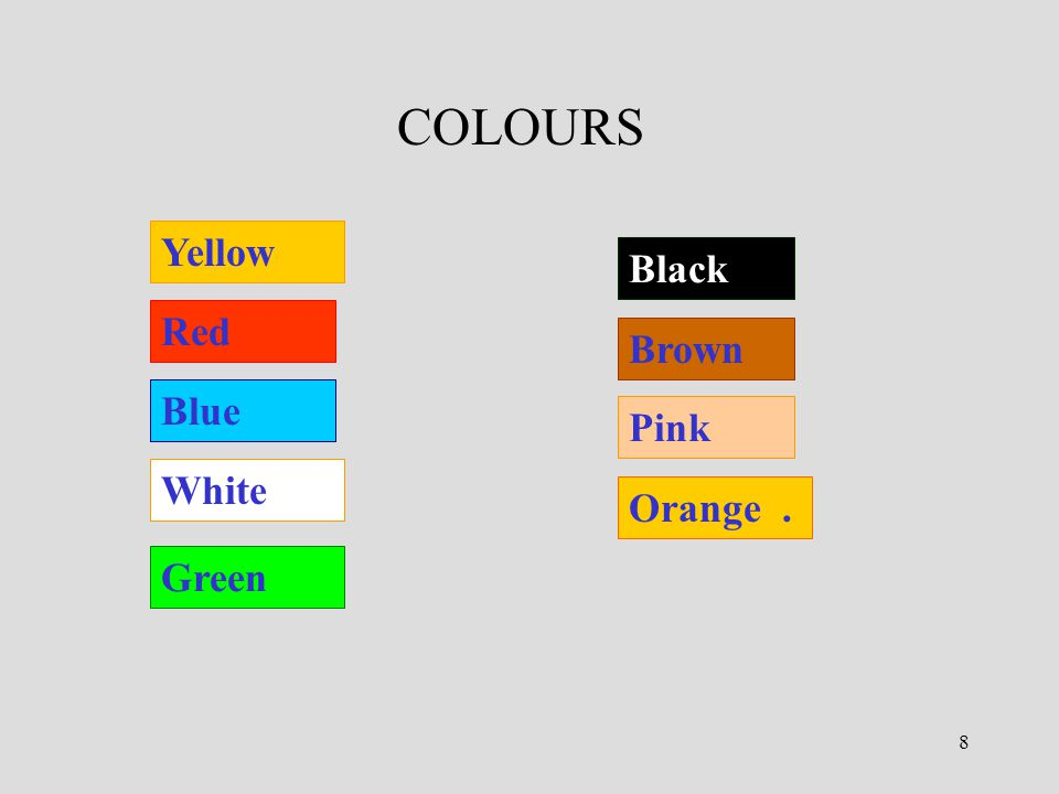 9 WHAT COLOUR.What colour is your car. It's blue What colour are your eyes.