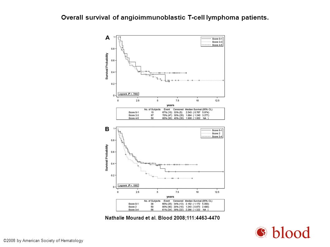 Overall survival of angioimmunoblastic T-cell lymphoma patients. Nathalie Mourad et al. Blood 2008;111:4463-4470 ©2008 by American Society of Hematolo