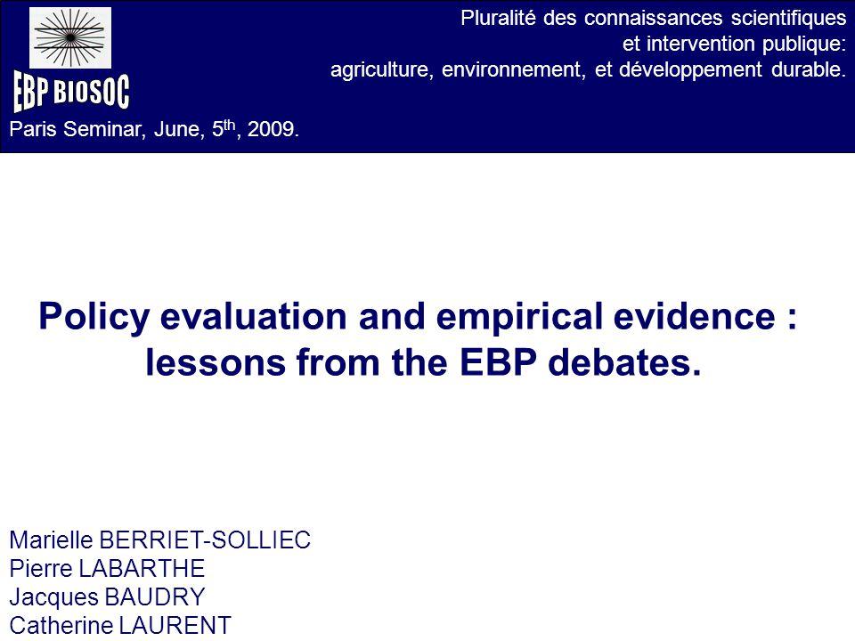Pluralité des connaissances scientifiques et intervention publique: agriculture, environnement, et développement durable.