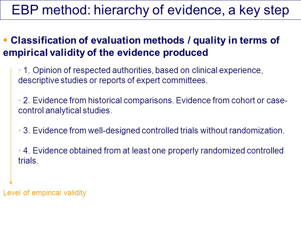 EBP method: hierarchy of evidence, a key step  Classification of evaluation methods / quality in terms of empirical validity of the evidence produced 1.