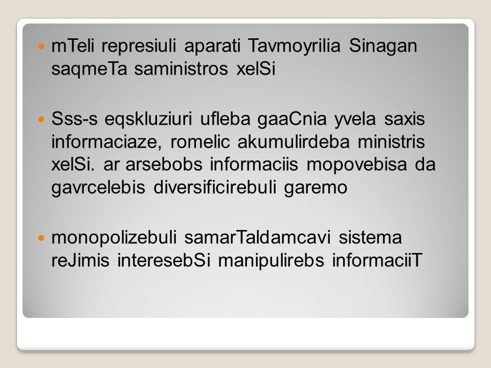 mTeli represiuli aparati Tavmoyrilia Sinagan saqmeTa saministros xelSi Sss-s eqskluziuri ufleba gaaCnia yvela saxis informaciaze, romelic akumulirdeba
