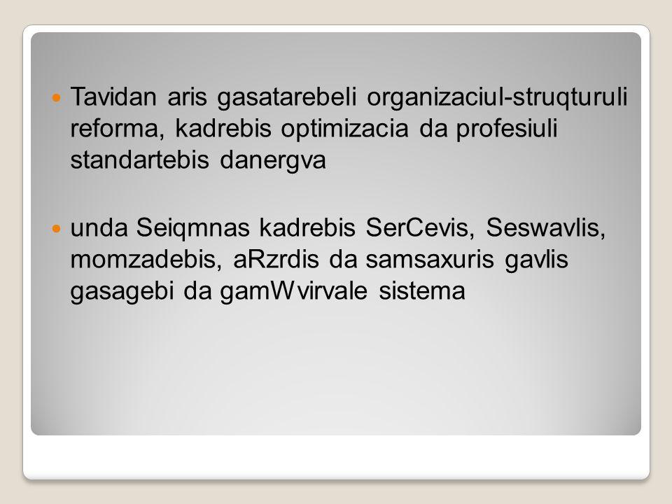 Tavidan aris gasatarebeli organizaciul-struqturuli reforma, kadrebis optimizacia da profesiuli standartebis danergva unda Seiqmnas kadrebis SerCevis,