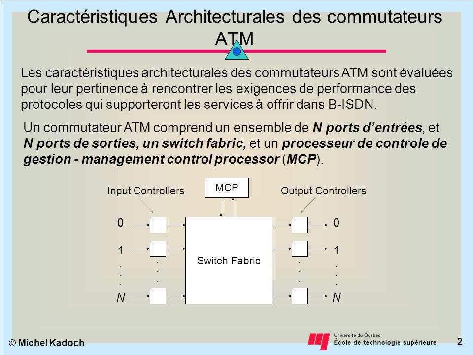 © Michel Kadoch 1 Attributs et Classification des commutateurs ATM