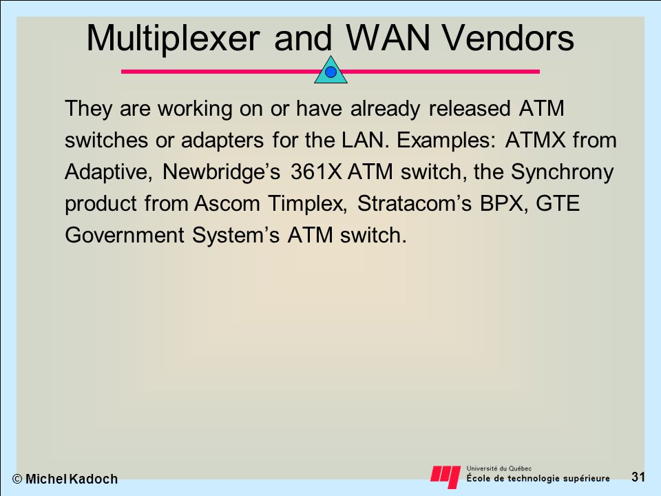 © Michel Kadoch 30 Commercial Systems ATM strategy for major vendor classes and some commercially available ATM switches.