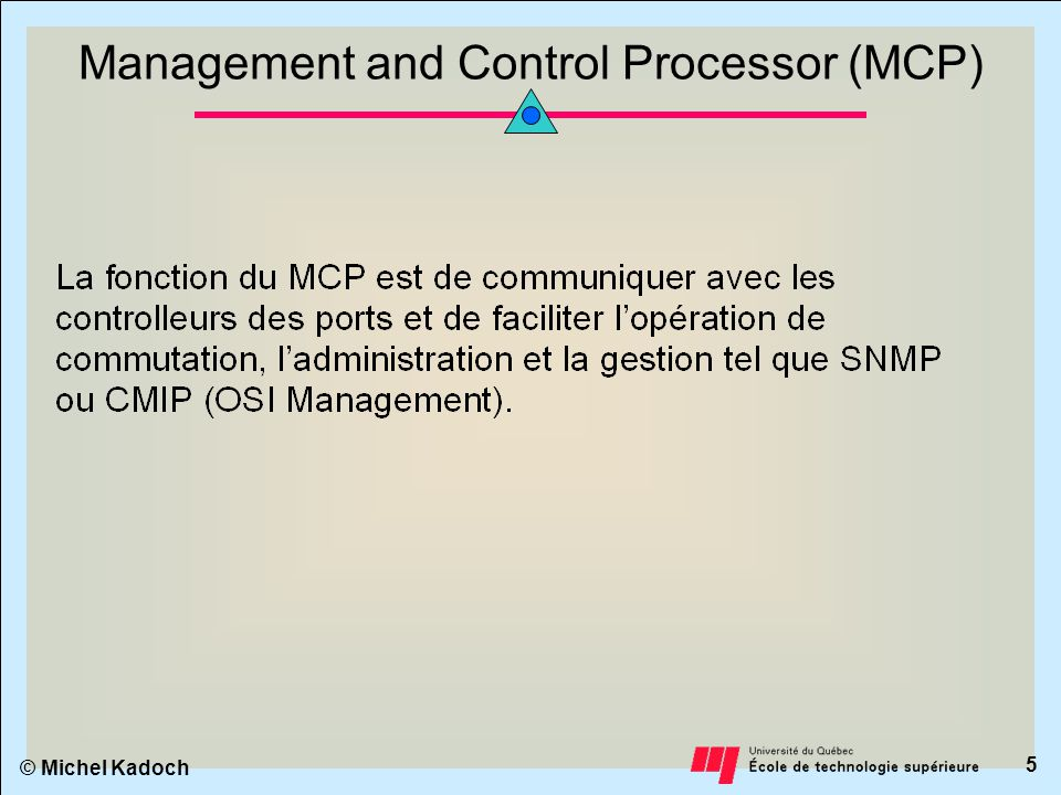© Michel Kadoch 5 Management and Control Processor (MCP)