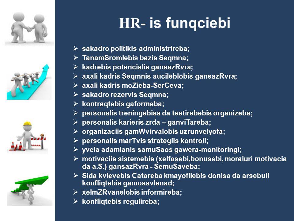 HR- is funqciebi  sakadro politikis administrireba;  TanamSromlebis bazis Seqmna;  kadrebis potencialis gansazRvra;  axali kadris Seqmnis aucilebl