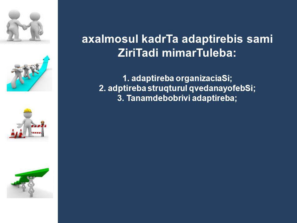 axalmosul kadrTa adaptirebis sami ZiriTadi mimarTuleba: 1. adaptireba organizaciaSi; 2. adptireba struqturul qvedanayofebSi; 3. Tanamdebobrivi adaptir