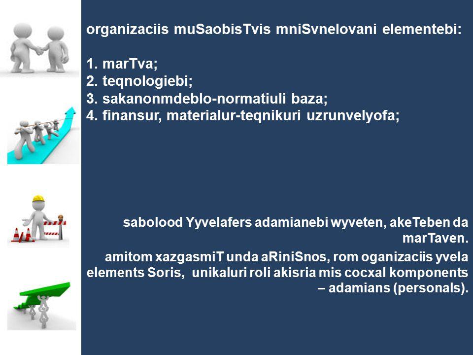 organizaciis muSaobisTvis mniSvnelovani elementebi: 1. marTva; 2. teqnologiebi; 3. sakanonmdeblo-normatiuli baza; 4. finansur, materialur-teqnikuri uz