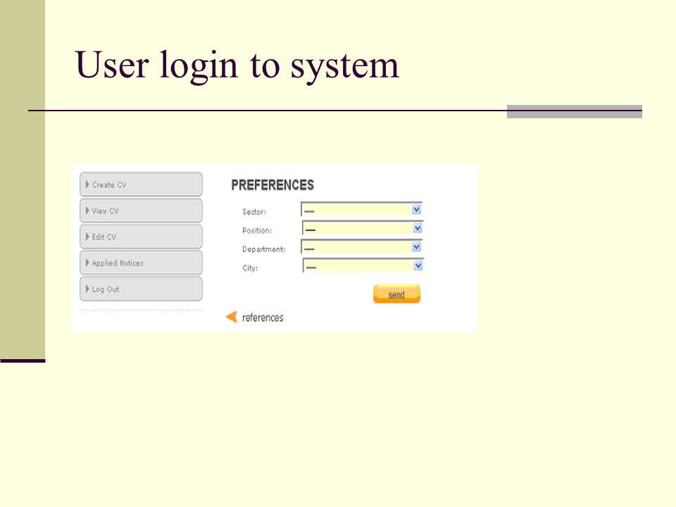 User login to system