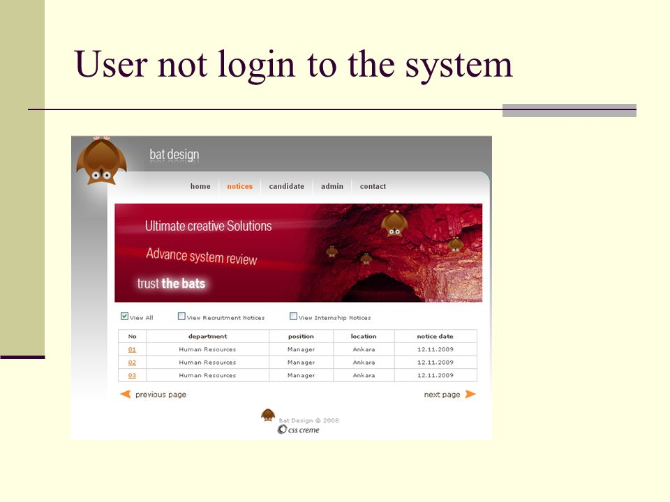 User not login to the system