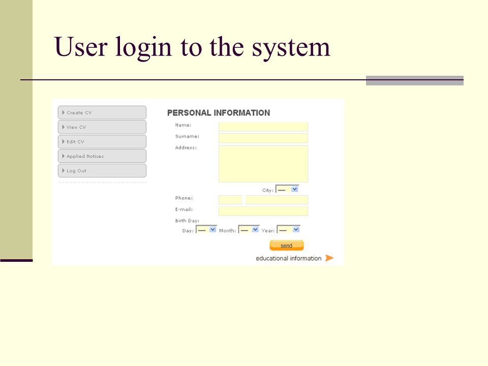 User login to the system