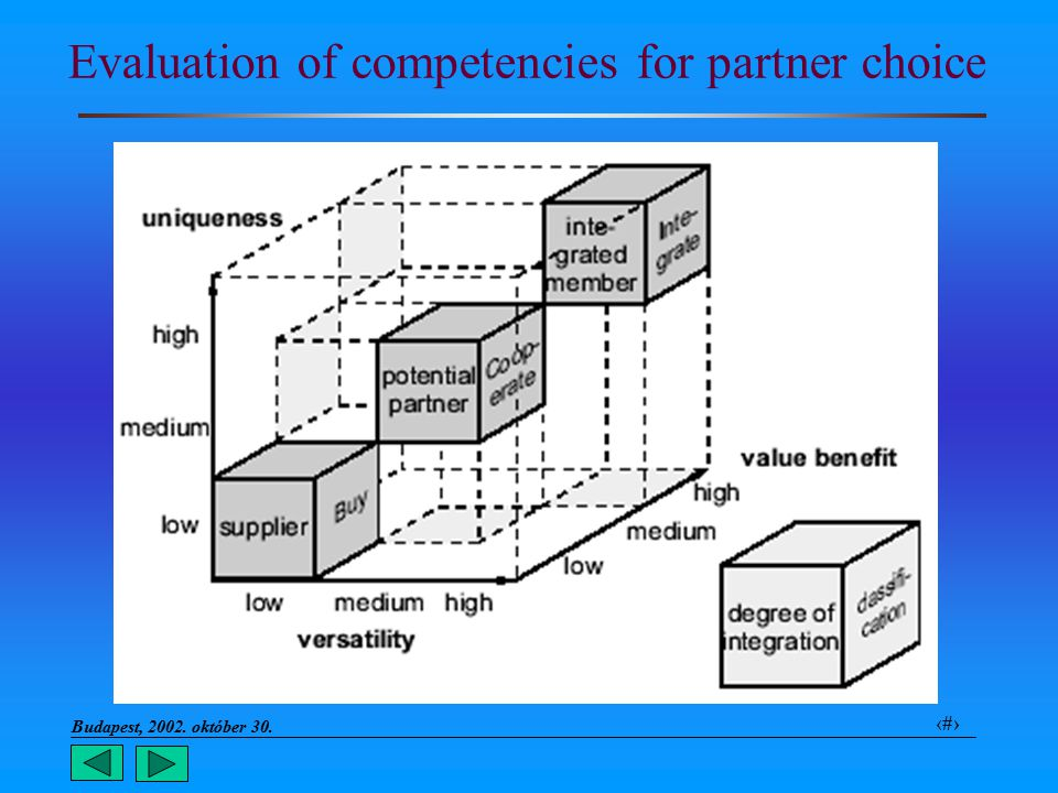 Budapest, 2002. október 30.. 10 Evaluation of competencies for partner choice
