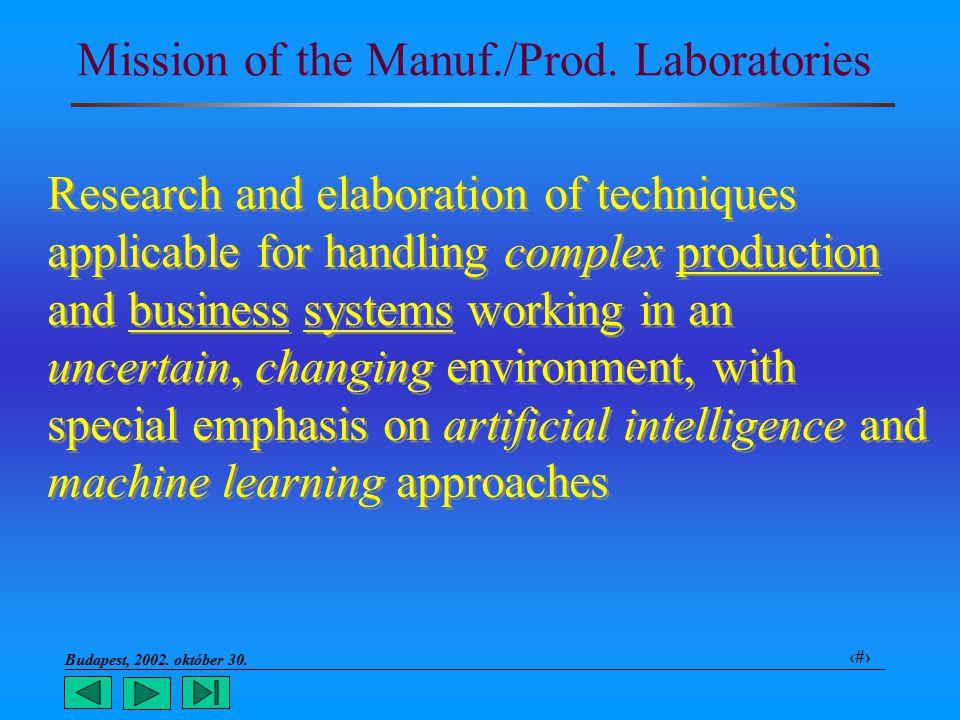 Budapest, 2002. október 30.. 5 Mission of the Manuf./Prod.