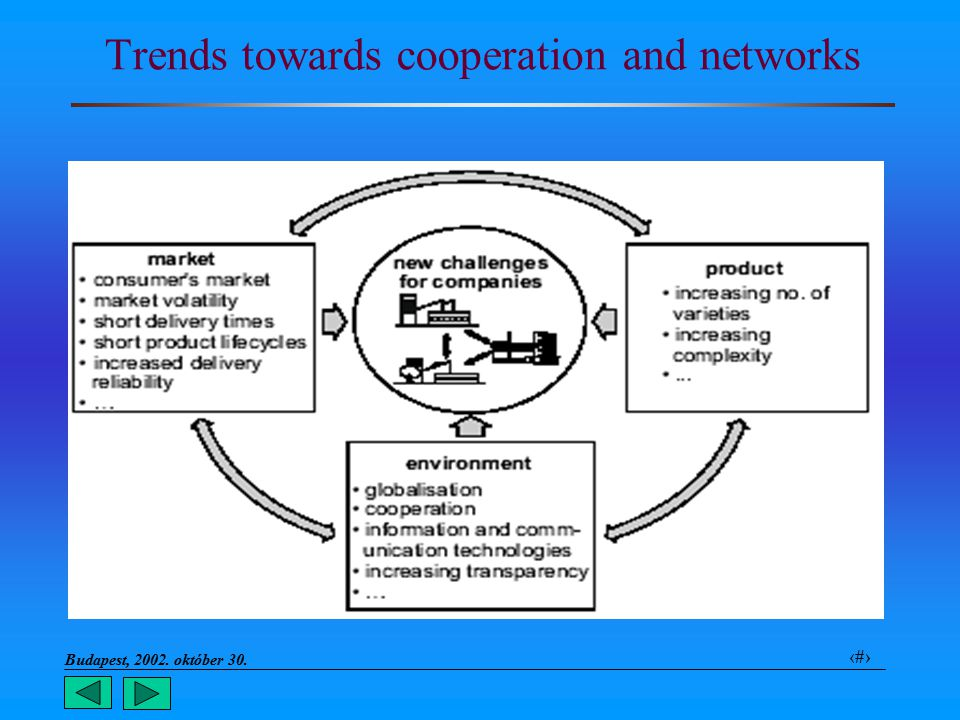 Budapest, 2002. október 30.. 6 Trends towards cooperation and networks