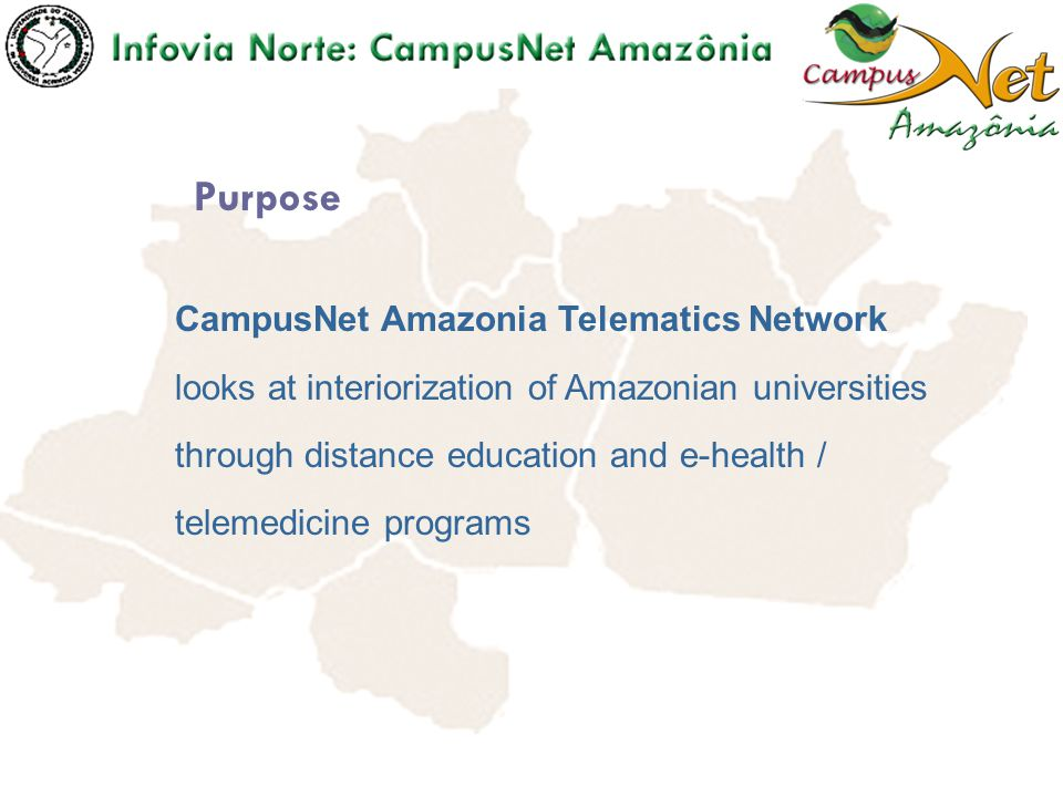 To endow the Northern Region Brazilian universities of infrastructure and technological resources, besides development of human capital, to implement teaching, research and outreach through telematics resources.