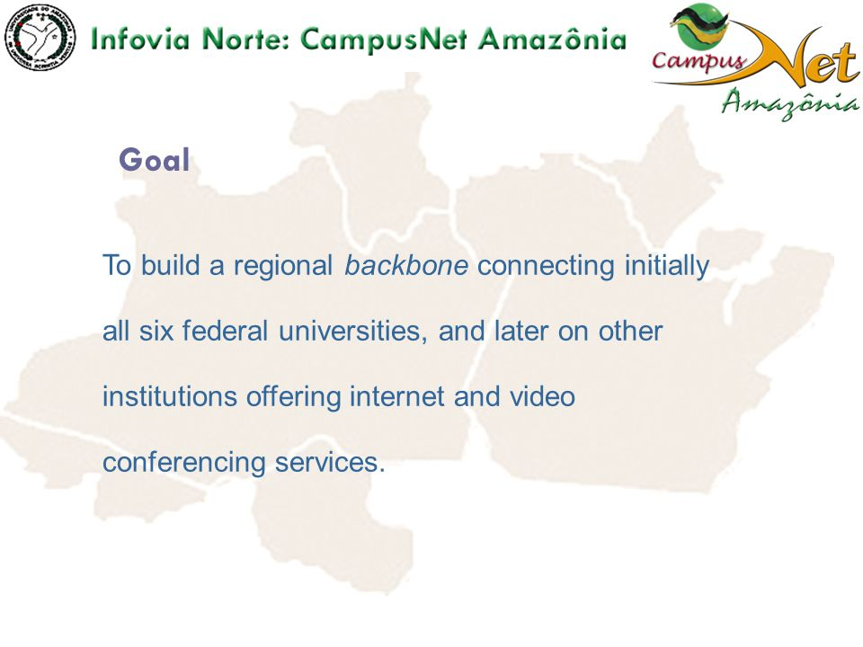 To build a network connecting all branch campuses of each university in each State making available internet and videoconferencing services.
