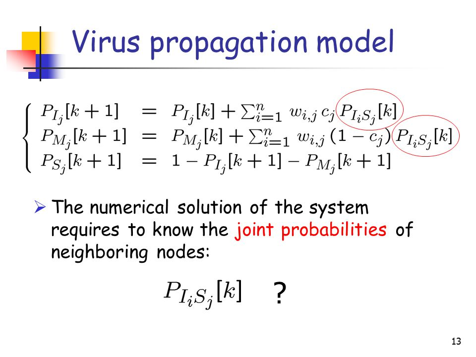 13 Virus propagation model  The numerical solution of the system requires to know the joint probabilities of neighboring nodes: ?