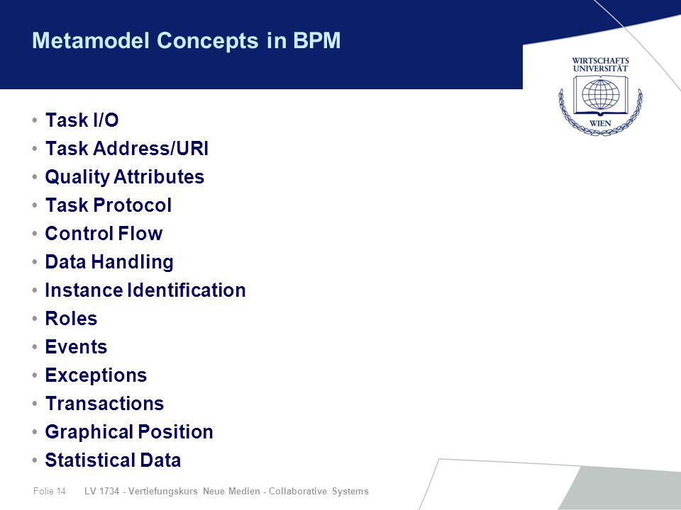 LV 1734 - Vertiefungskurs Neue Medien - Collaborative SystemsFolie 14 Metamodel Concepts in BPM Task I/O Task Address/URI Quality Attributes Task Prot