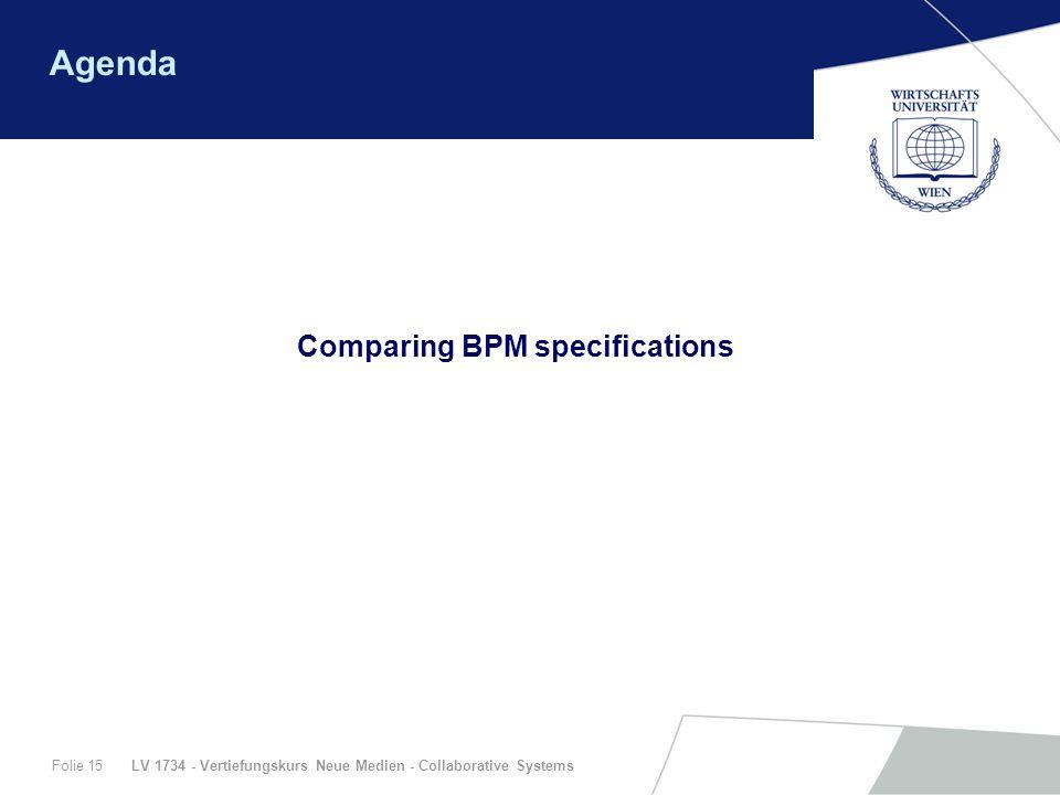 LV 1734 - Vertiefungskurs Neue Medien - Collaborative SystemsFolie 15 Agenda Comparing BPM specifications