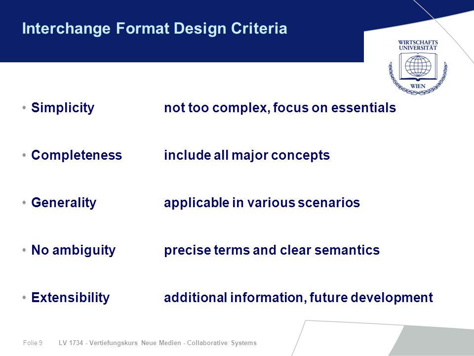 LV 1734 - Vertiefungskurs Neue Medien - Collaborative SystemsFolie 9 Interchange Format Design Criteria Simplicitynot too complex, focus on essentials