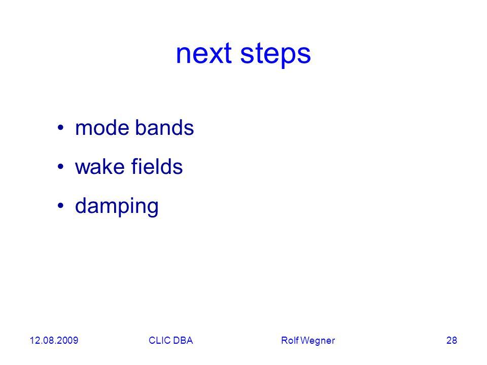12.08.2009CLIC DBA Rolf Wegner 28 next steps mode bands wake fields damping