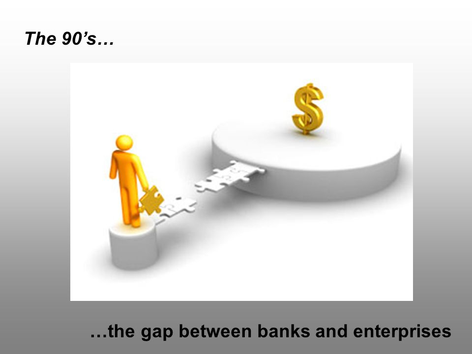 The 90's… …the gap between banks and enterprises