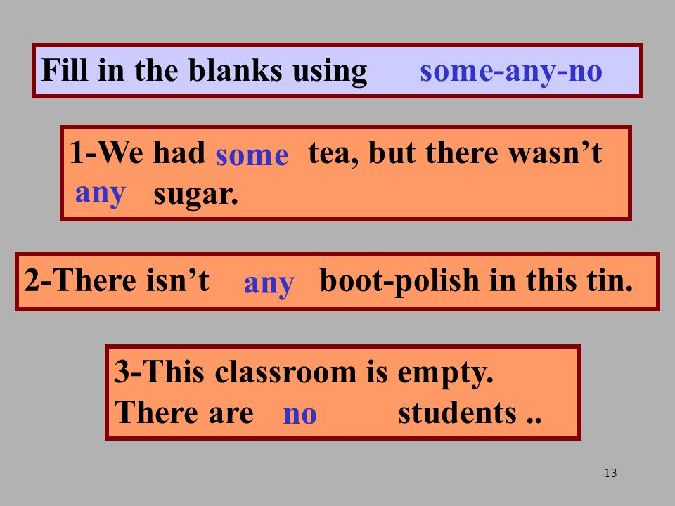 13 Fill in the blanks using some-any-no 1-We had.......