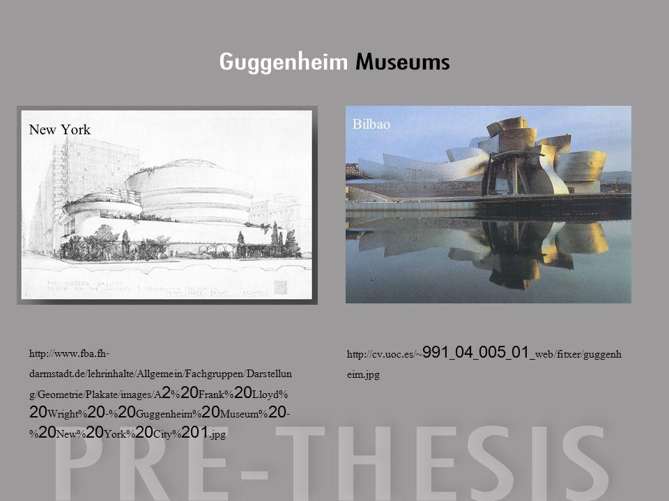 http://www.fba.fh- darmstadt.de/lehrinhalte/Allgemein/Fachgruppen/Darstellun g/Geometrie/Plakate/images/A2%20Frank%20Lloyd% 20Wright%20-%20Guggenheim%20Museum%20- %20New%20York%20City%201.jpg http://cv.uoc.es/~991_04_005_01_web/fitxer/guggenh eim.jpg New York Bilbao Guggenheim Museums