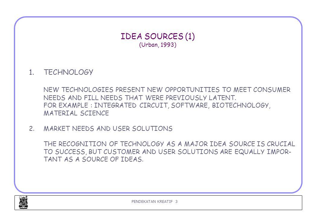 PENDEKATAN KREATIF 4 IDEA SOURCES (2) (Urban, 1993) 3.