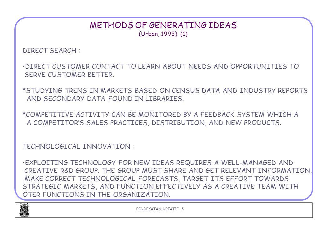 PENDEKATAN KREATIF 6 METHODS OF GENERATING IDEAS (Urban, 1993) (2) 3.